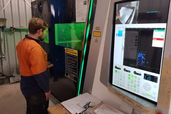 Man checking the machine